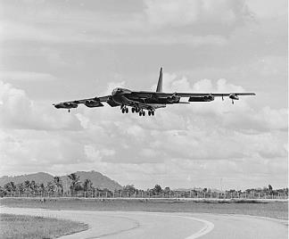 A USAF B-52 comes in to land at  U-Tapao Air Base in Thailand after a mission over South Vietnam.