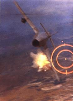 Major Ralph Kuster shoots down a North Vietnamese MiG-17 with his F-105's 20mm cannon.