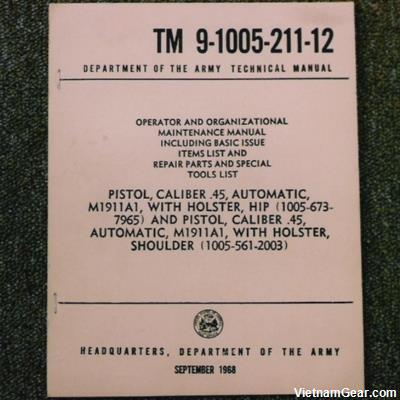 TM 9-1005-211-12 Manual - .45 Automatic M1911A1 Pistol