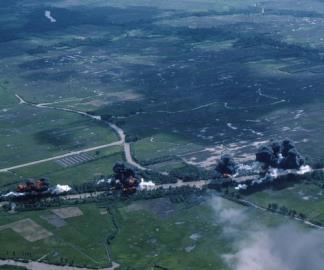 A Napalm strike against Kien Van, Kien Phong province in the northern Mekong Delta.