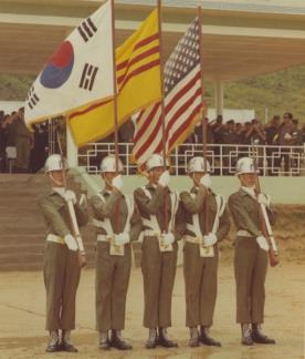 The flags of South Korea, South Vietnam and the U.