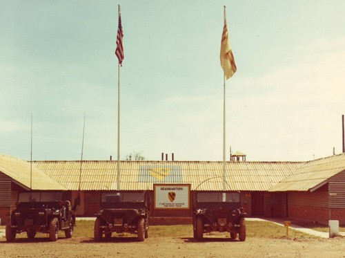 Headquarters building of the 1st Cavalry Division (Airmobile) in Phouc Vinh, South Vietnam.