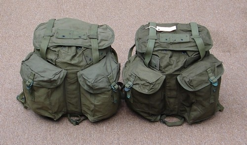 The left ARVN Rucksack's lighter color may be because it has been water repellent treated.