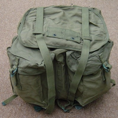 The ARVN Rucksack boasted two outside pockets and webbing hanger for attaching an intrenching tool on the pouch flap.