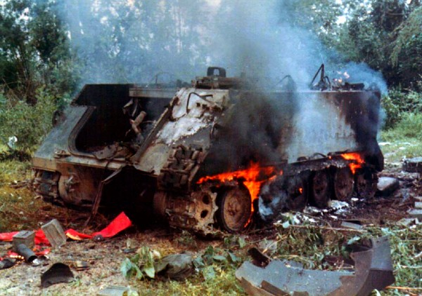 M-113 Armored Personnel Carrier (APC) destroyed by an enemy rocket propelled grenade (RPG).