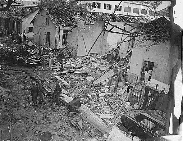 On Christmas Eve 1964 the Viet Cong exploded a bomb at the Brinks Hotel, a billet for U.