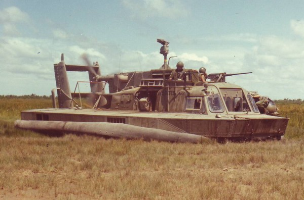 An Assault Air-Cushion Vehicle prepares to take part in Operation Bruong Cong Dinh at Dong Tam in South Vietnam's Mekong Delta.