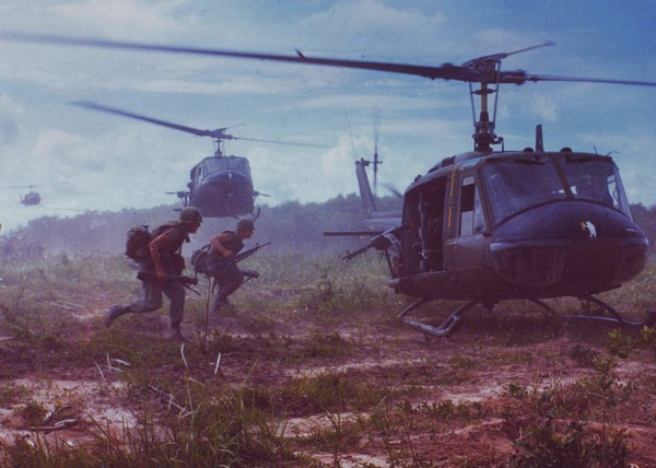 UH-1D helicopters airlift members of the 2nd Battalion, 14th Infantry Regt.
