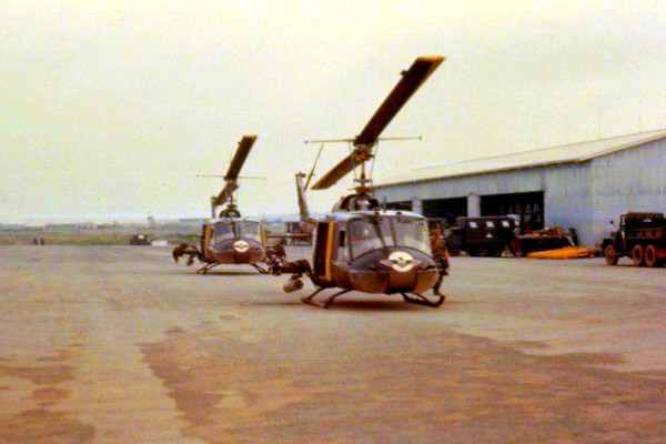 Two 'Thunderbird' gunships at Soc Trang.