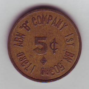 5c Military Token issued by the 1st Battalion 503rd Infantry of the 173rd Airborne Brigade.