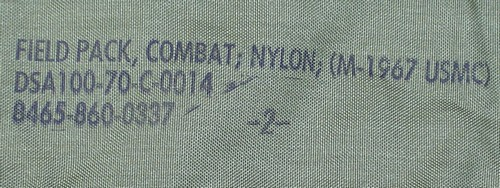 Nomenclature stamp on the inside of the top flap of the Marine Corps M-1967 combat field pack.