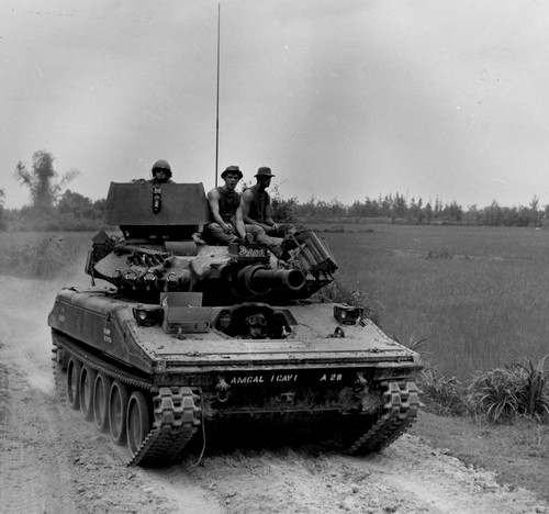 An M155 Sheridan tank from A Troop, 1st Bn.