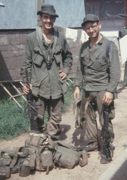 SOG Spike Team Ohio members Joe Parnar (left) and Tommy Carr after returning from a reconnaissance mission.